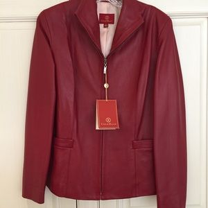NWT Cole Haan Red Lamb Skin Leather Jacket